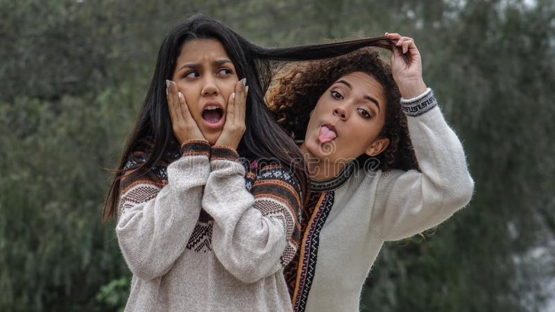 Amizade parva entre meninas latino-americanos adolescentes imagem de stock