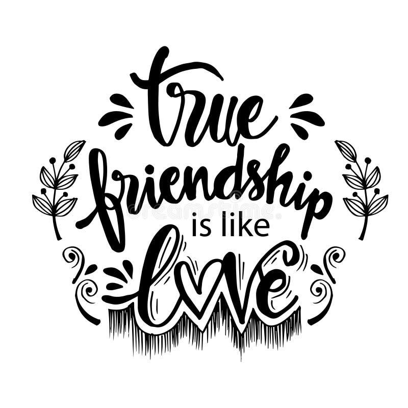 A amizade verdadeira é como o amor ilustração do vetor