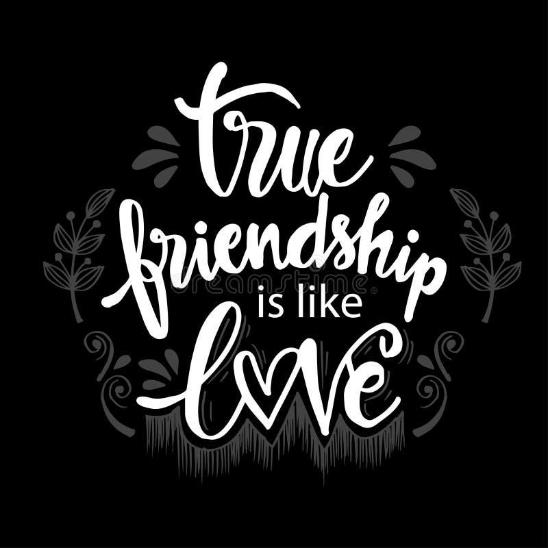 A amizade verdadeira é como o amor ilustração royalty free