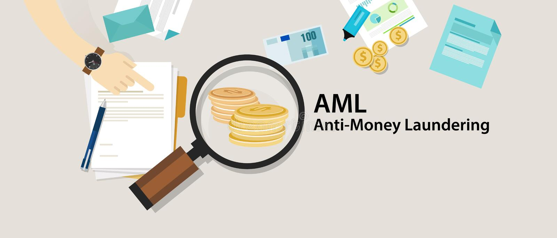 AML anti money laundering cash coin transaction company. Vector stock illustration