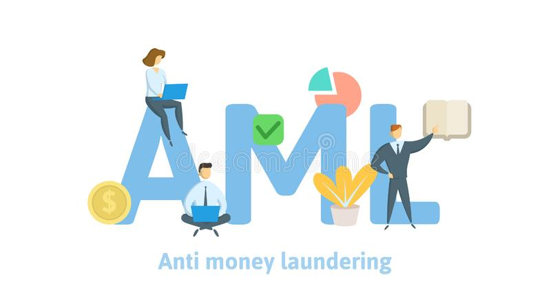 AML, Anti money laundering. Concept with keywords, letters and icons. Flat vector illustration on white background. AML, Anti money laundering. Concept with vector illustration