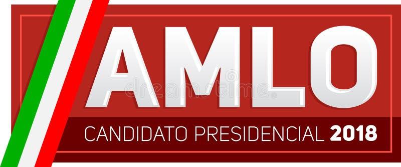 AMLO Andres Manuel Lopez Obrador Candidato 2018 presidencial, español del candidato presidencial 2018 mandan un SMS ilustración del vector