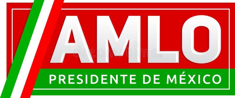 AMLO Andres Manuel Lopez Obrador, Presidente de México, texto español del presidente mexicano ilustración del vector