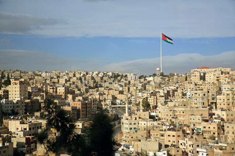 Amman city view with a flag royalty free stock image