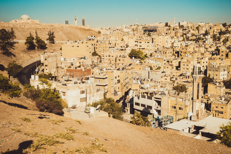 Amman city view with Umayyad Palace on background. Urban landscape. Residential area. Arabic architecture. Eastern city stock photo
