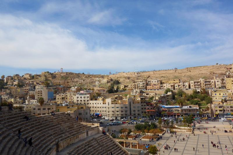 Amman, Giordania - Roman Amphitheater, Medio Oriente immagine stock