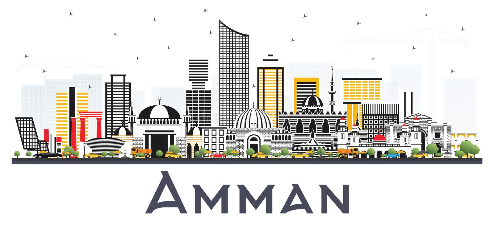 Amman Jordan City Skyline with Color Buildings Isolated on White. Background. Vector Illustration. Business Travel and Tourism Concept with Modern Architecture stock illustration