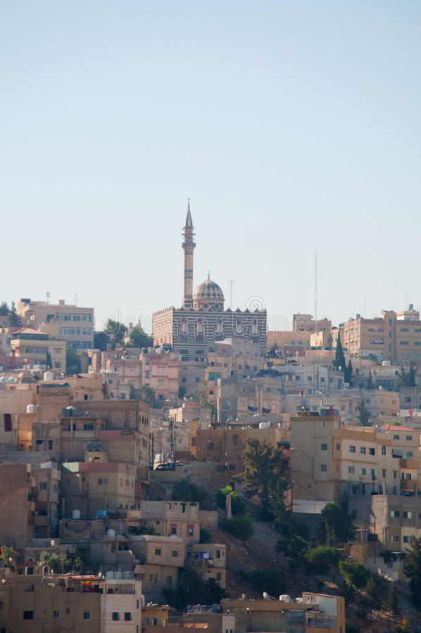 Amman, Jordan, Middle East, skyline, mosque, Abu Darwish Mosque, islam, religion, place of worship. Jordan, 01/10/2013, the skyline of Amman and view of the Abu stock photo