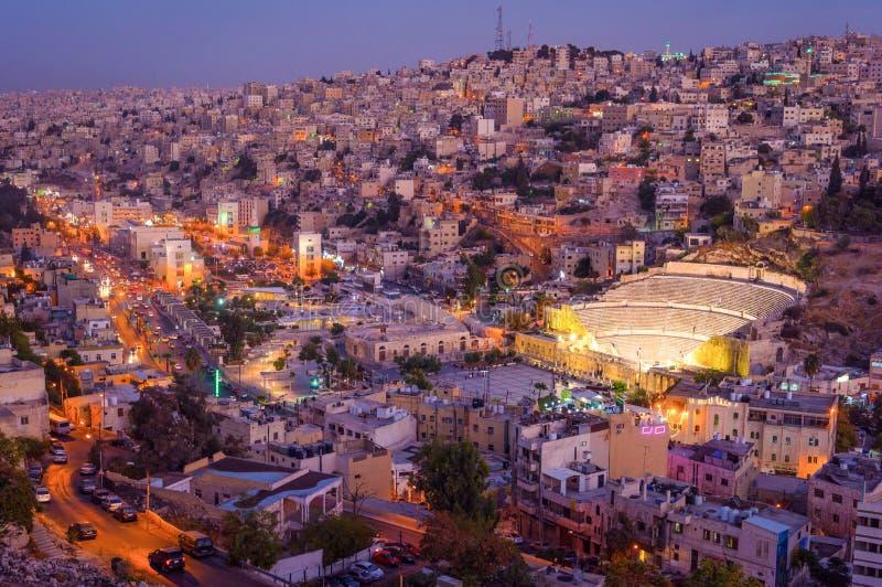 Amman Jordan Middle East solnedgångcityscape arkivbilder