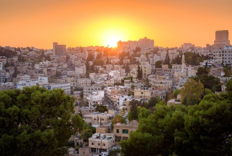 Amman Jordan Middle East solnedgångcityscape fotografering för bildbyråer