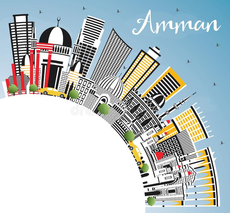 Amman Jordan Skyline with Color Buildings, Blue Sky and Copy Spa. Ce. Vector Illustration. Business Travel and Tourism Concept with Modern Architecture. Amman royalty free illustration