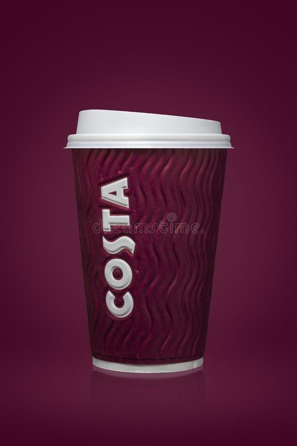 AMMAN, JORDANIA, 26 2017 Sierpień: Costa filiżanka, Costa kawa jest Brytyjskim wielonarodowym coffeehouse firmą lokującym wewnątr zdjęcia stock