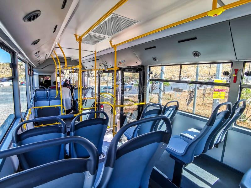 Amman, Jordanien juli, 3:e 2019 Amman Bus royaltyfria foton