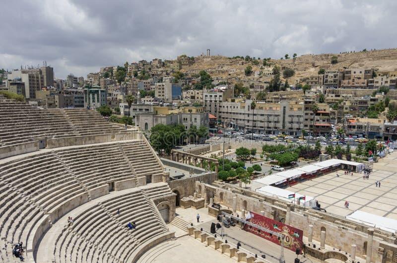 Amman Jordanien - Maj 28, 2016: Romersk amfiteater i centrum med arkivbild