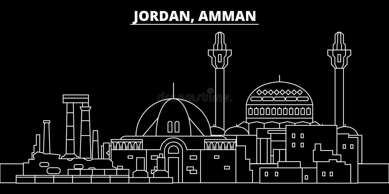 Amman-Schattenbildskyline Jordanien- - Amman-Vektorstadt, jordian lineare Architektur, Gebäude Amman-Reiseillustration vektor abbildung