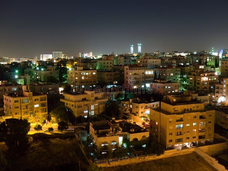 Amman skyline at night royalty free stock image