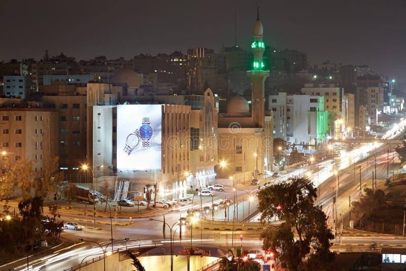Amman stadsmening in de nacht, Jordanië royalty-vrije stock foto's