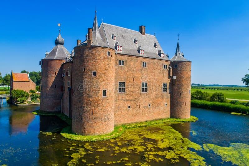 Ammersoyen kasztel w holandiach fotografia royalty free