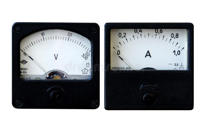 Ammeter and voltmeter stock photos