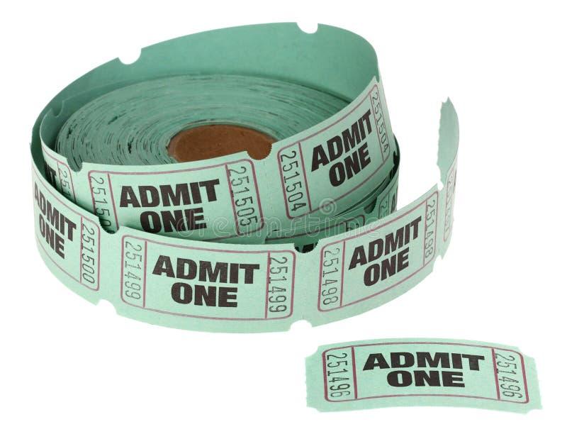 Ammetta un rotolo dei biglietti immagini stock libere da diritti