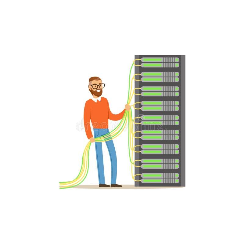 Amministratore di sistema, server admin che funziona con l'attrezzatura dell'hardware del centro dati, vettore di sostegno di man illustrazione vettoriale