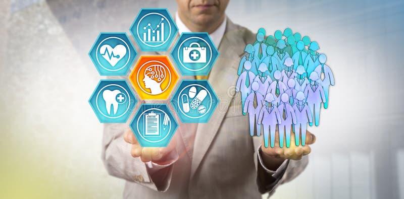 Amministratore Using AI nello studio di salute della popolazione fotografie stock libere da diritti