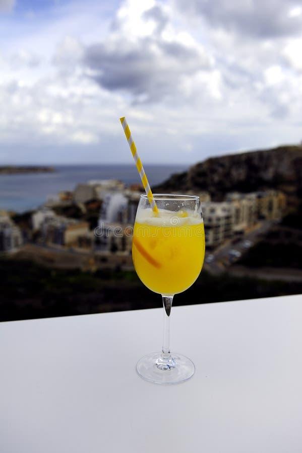 Ammirare la vista con un cocktail immagini stock