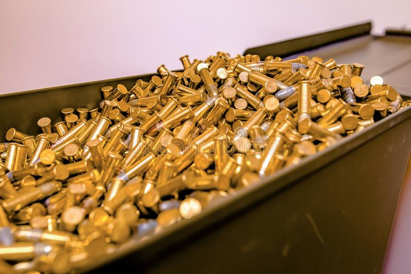 Opened ammo box full of bullets royalty free stock photos