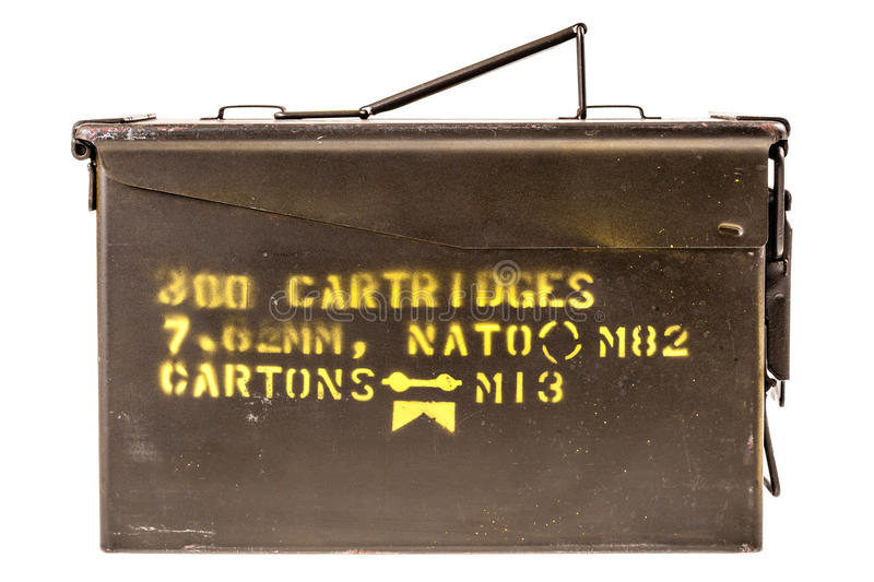 Ammo box. A military ammo box isolated over a white background royalty free stock photos