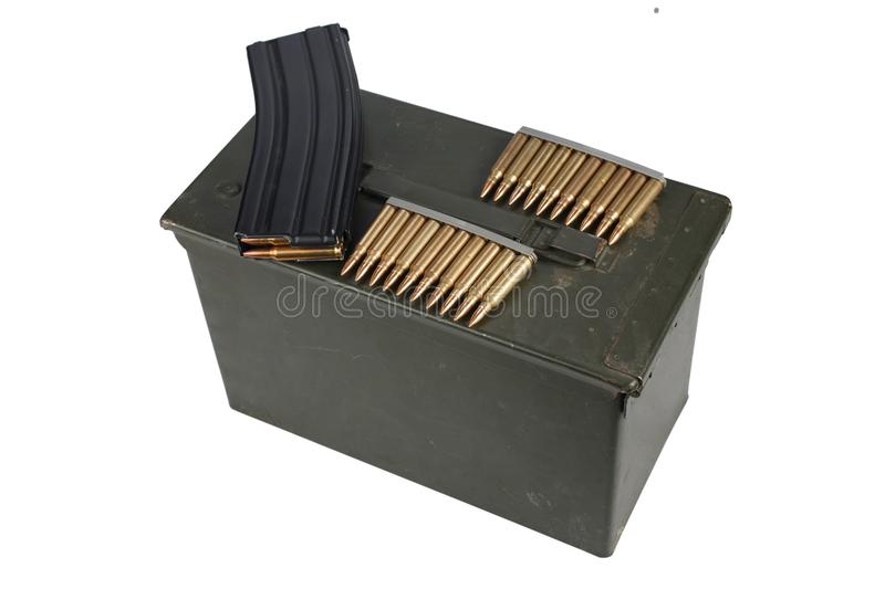 Ammo Can with ammo. Isolated on white background stock image
