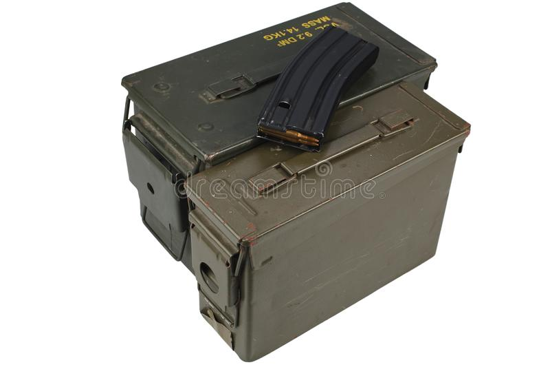 Ammo Can with ammo. Isolated on white background royalty free stock images