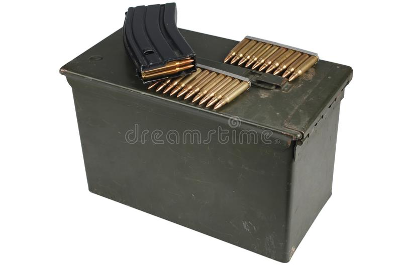 Ammo Can with ammo. Isolated on white background stock photos