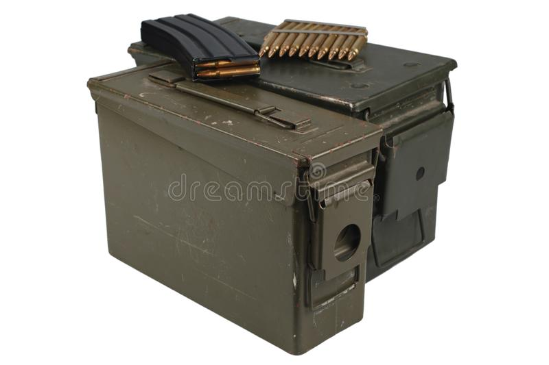 Ammo Can with ammo. Isolated on white background stock photography