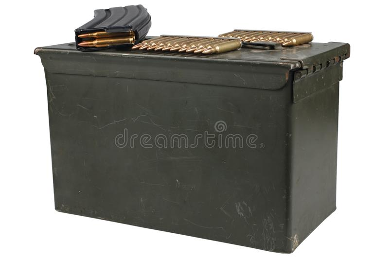 Ammo Can with ammo. Isolated on white background royalty free stock image