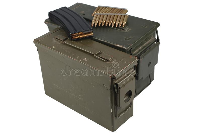 Ammo Can with ammo. Isolated royalty free stock photo