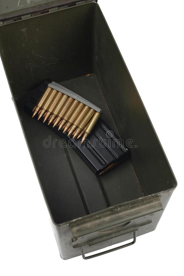 Ammo Can with ammo. Isolated stock images