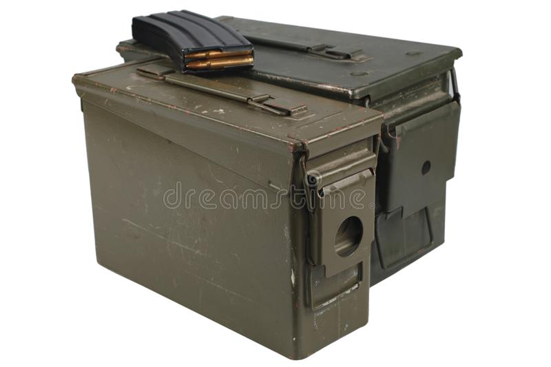 Ammo Can with ammo. Isolated stock photos