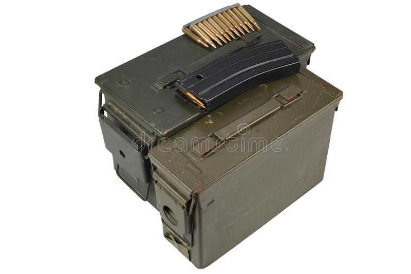 Ammo Can with ammo. Isolated royalty free stock photography