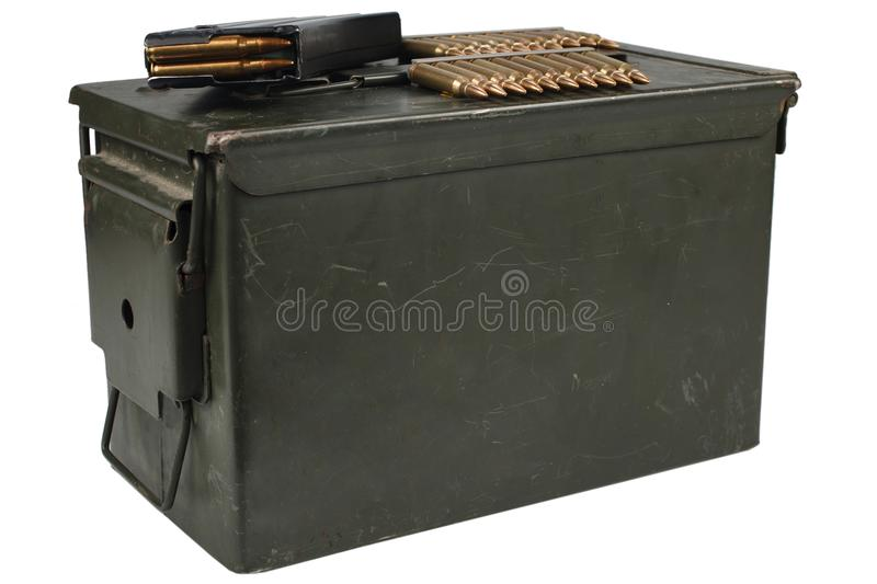 Ammo Can with ammo. Isolated on white stock images