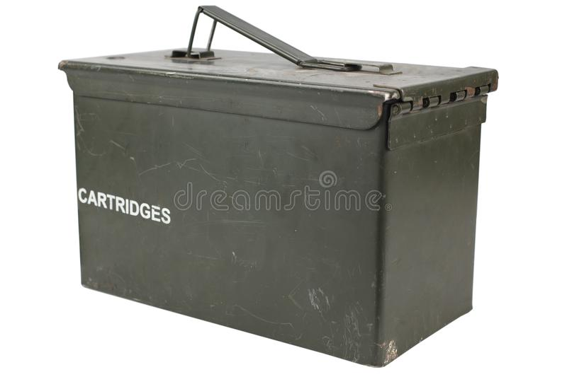 Ammo Can. Isolated on white background stock images