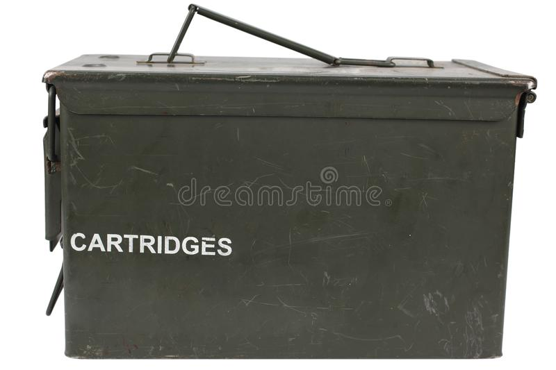 Ammo Can. Isolated on white background stock photography