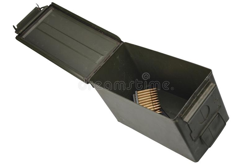 Ammo Can with ammo. Isolated on white background stock images