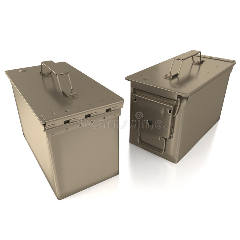 Ammo can on white background. 3D rendering of ammo cans isolated on white background with shadows and reflections royalty free stock photos