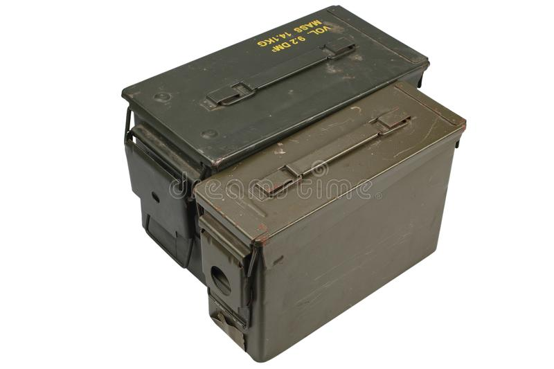 Ammo Cans. Isolated on white background stock photo