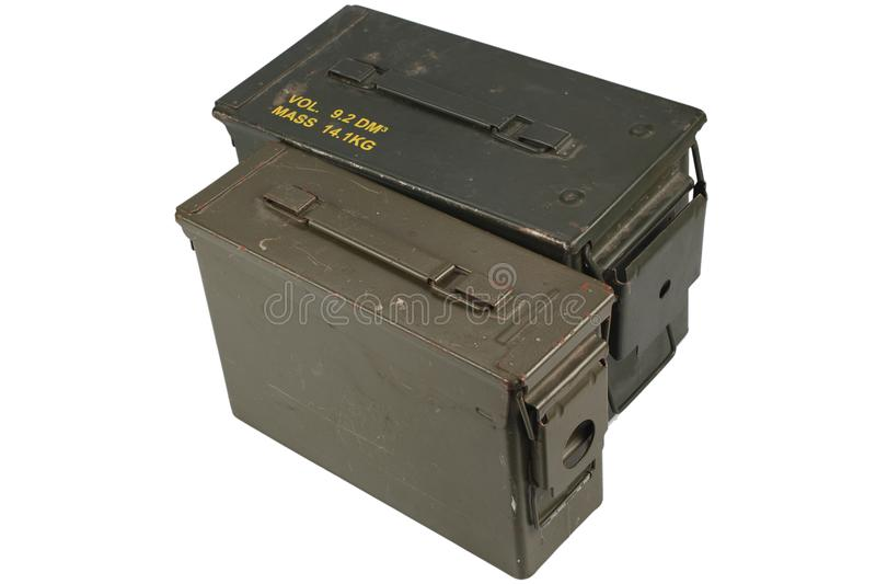 Ammo Cans. Isolated on white background royalty free stock photo