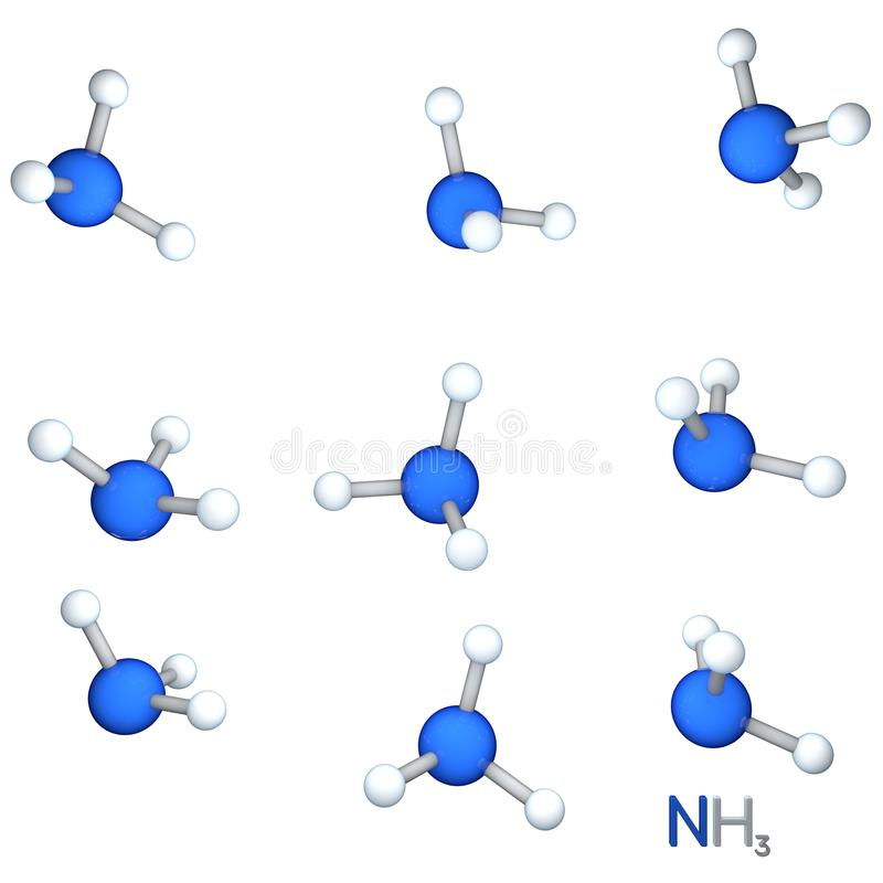 Ammoniakmodellmolekyl På vitbakgrund renderi 3D royaltyfri illustrationer