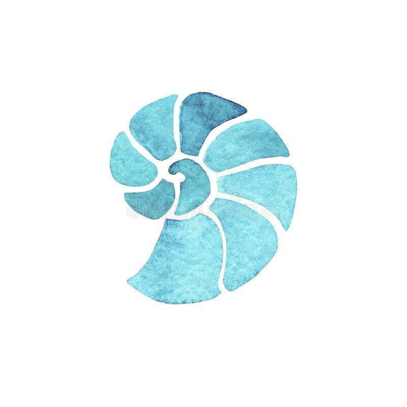 Ammonite disegnata a mano dell'acquamarina dell'illustrazione dell'acquerello isolata su fondo bianco royalty illustrazione gratis