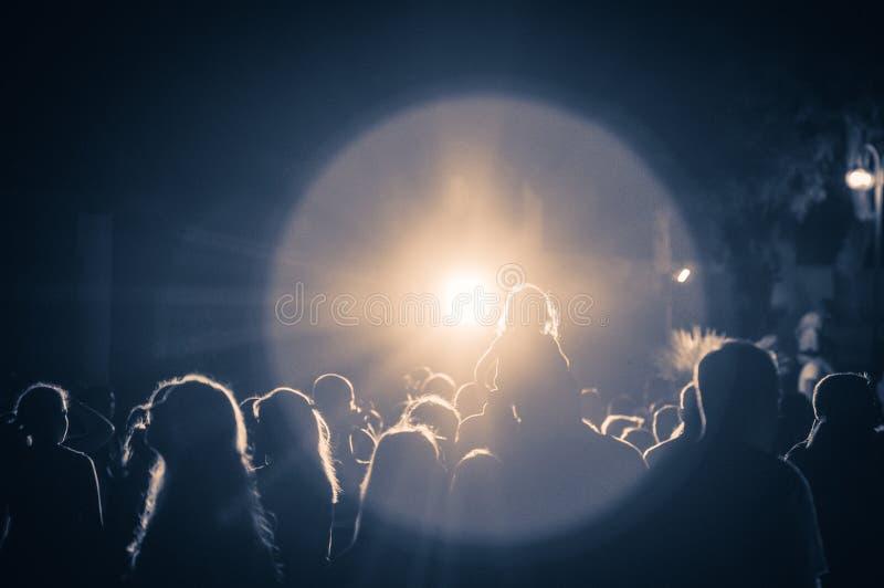 Ammucchi ad un concerto ad una luce d'annata fotografia stock libera da diritti
