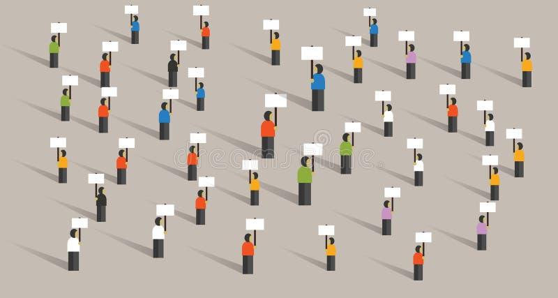Ammucchi la gente che protesta molti gruppo stante dei dimostranti di democrazia di politica di azione dei segni della tenuta di  illustrazione di stock