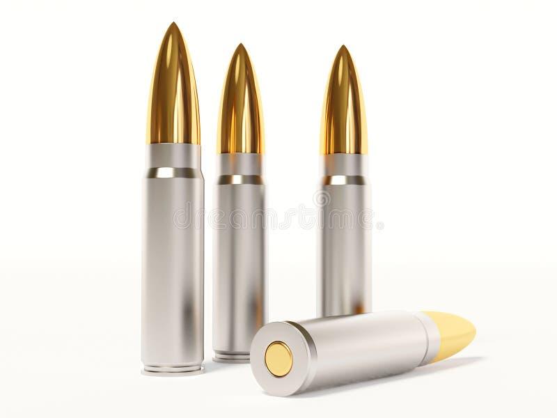 Ammunition. Gold ammunition on white background royalty free illustration